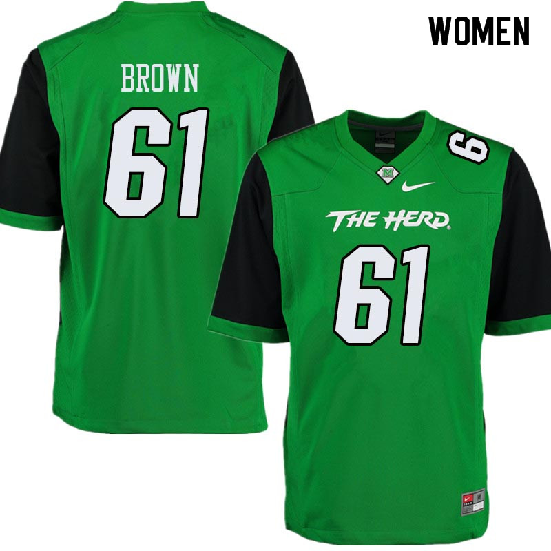 Women #61 Levi Brown Marshall Thundering Herd College Football Jerseys Sale-Green